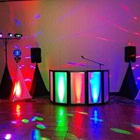 DJ booth and party lights
