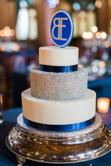 Blue and silver cake