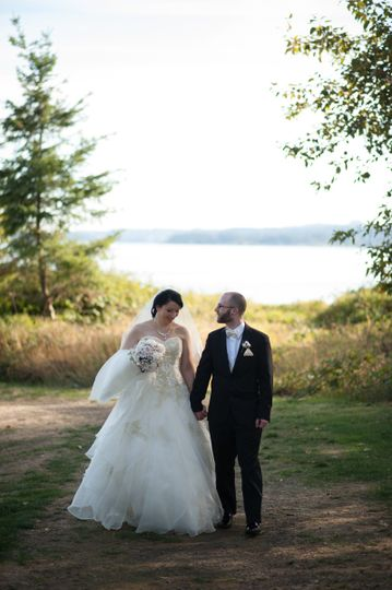 Walking newlyweds