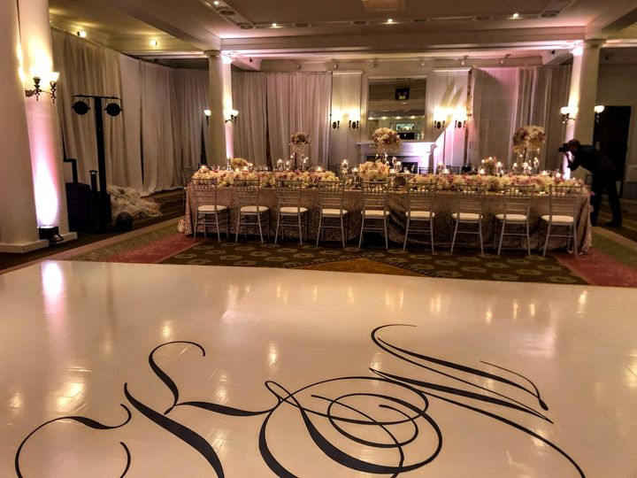 Full dance floor over parquet