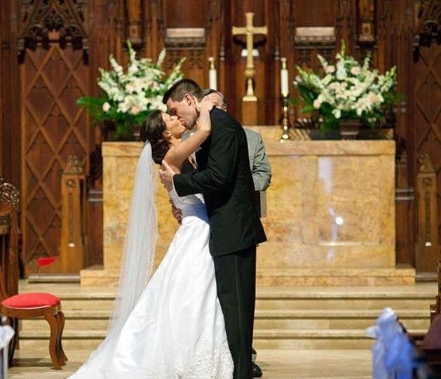 Couple's traditional kiss
