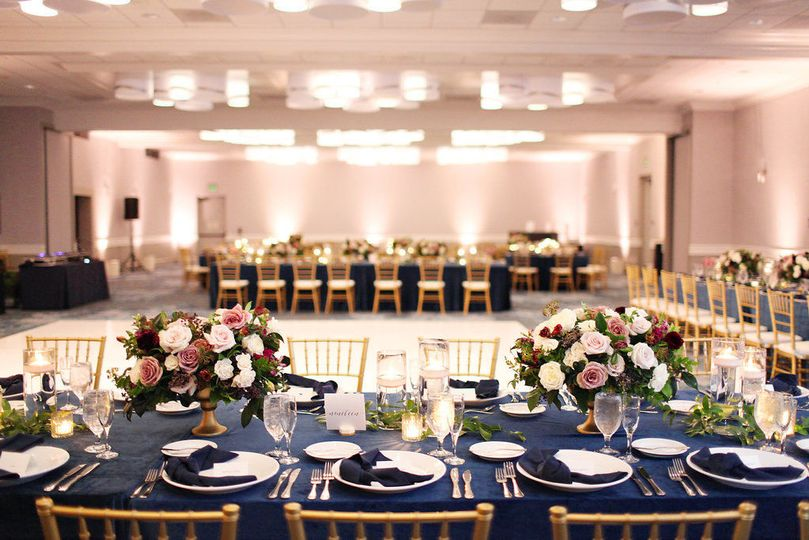 Table setting in the plaza ballroom. Reception space for up to 450-500 guests
