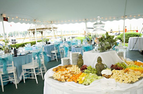 Showing guest tables, marina and cheese and crudite display.