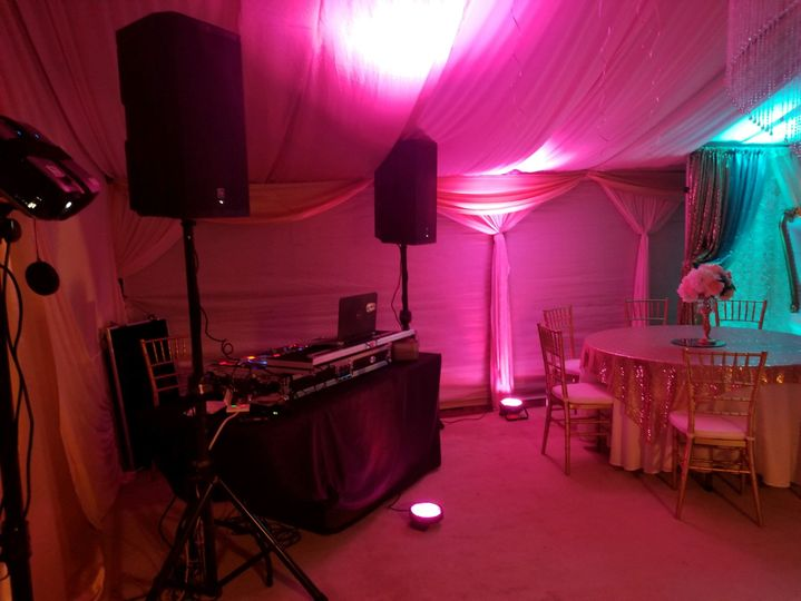 DJ setup with up lights