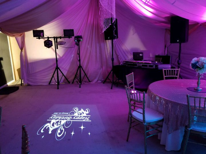 Setup with uplights and gobo