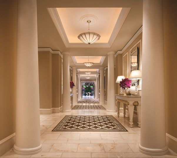 Imagine walking down this breathtaking hallway to The Primrose Courtyard.