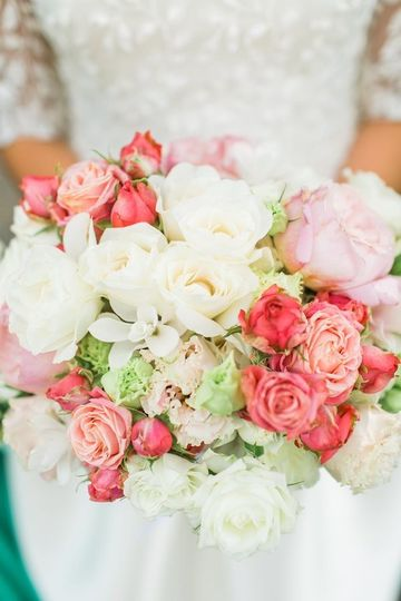 high end bridal bouquet, white and pink, garden roses