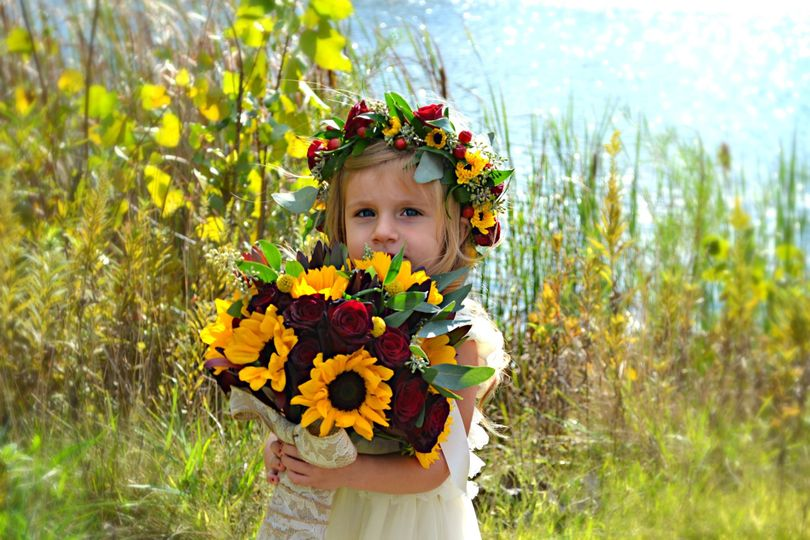 Bouquet and floral crown