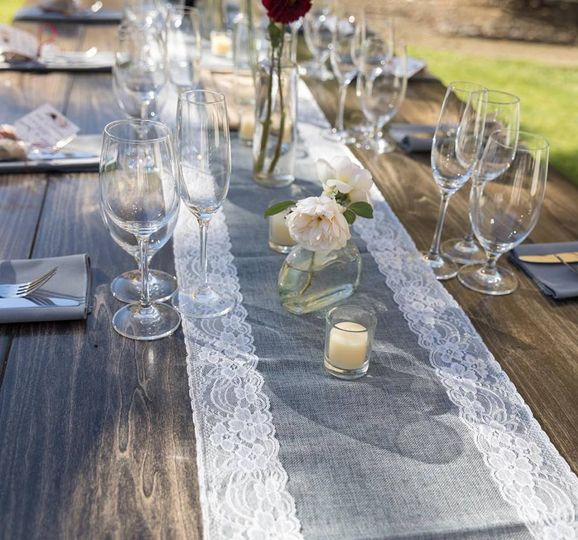Glassware and floral centerpieces