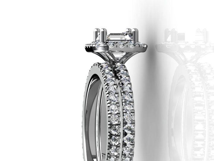 Tmx 1364001337502 1.5cthaloweddingbandengagementringsetwhitegold. Chicago wedding jewelry
