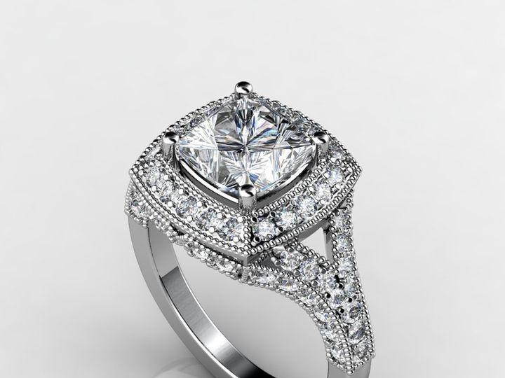Tmx 1364003497463 2cthalowhitegoldengagementring Chicago wedding jewelry