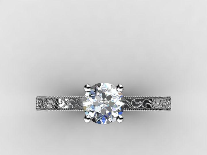 Tmx 1364003665950 Customwhitegoldengagementring1.75cttop Chicago wedding jewelry