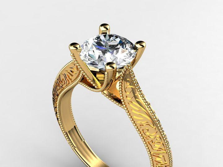 Tmx 1364003752403 Customyellowgoldengagementring1.5ct Chicago wedding jewelry