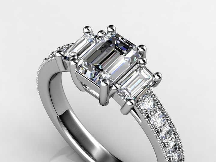 Tmx 1364003758031 Threestoneemerald1ctwhitegoldengagementring Chicago wedding jewelry