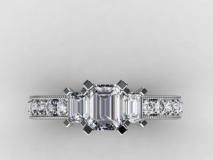 Tmx 1364003764112 Threestoneemerald1ctwhitegoldring1 Chicago wedding jewelry