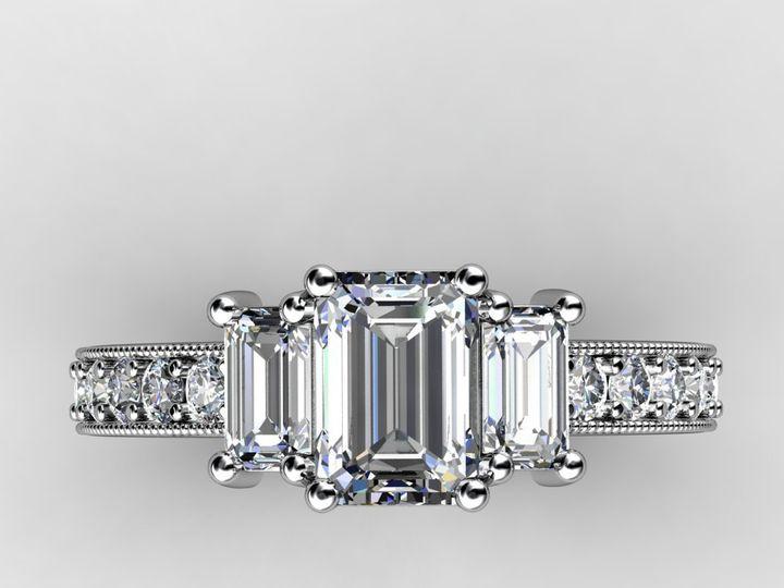 Tmx 1364003770151 Threestoneemerald1ctengagementring Chicago wedding jewelry