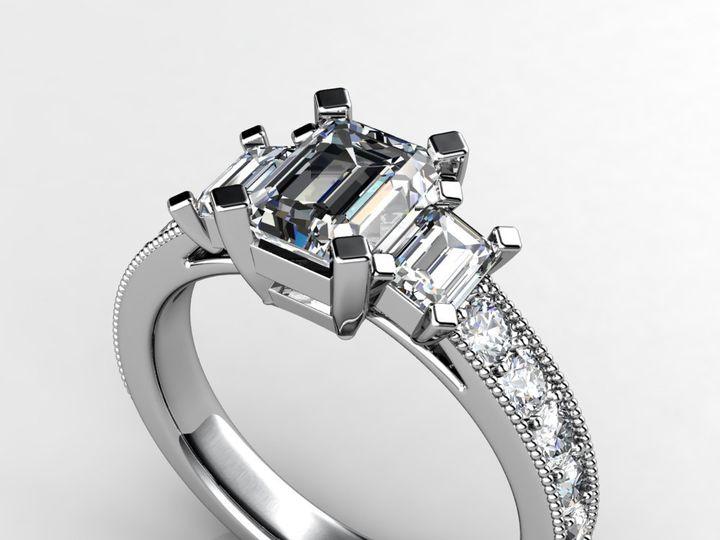 Tmx 1364003776314 Threestoneemerald1ctengagementring2 Chicago wedding jewelry
