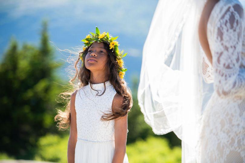 Flower girl on mountain
