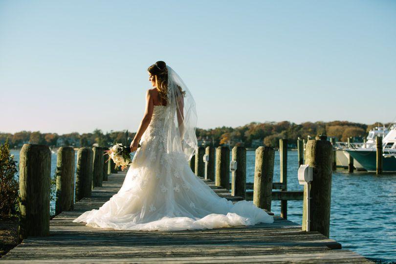 Bride on her wedding gown