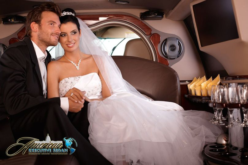 Newlyweds in the limo