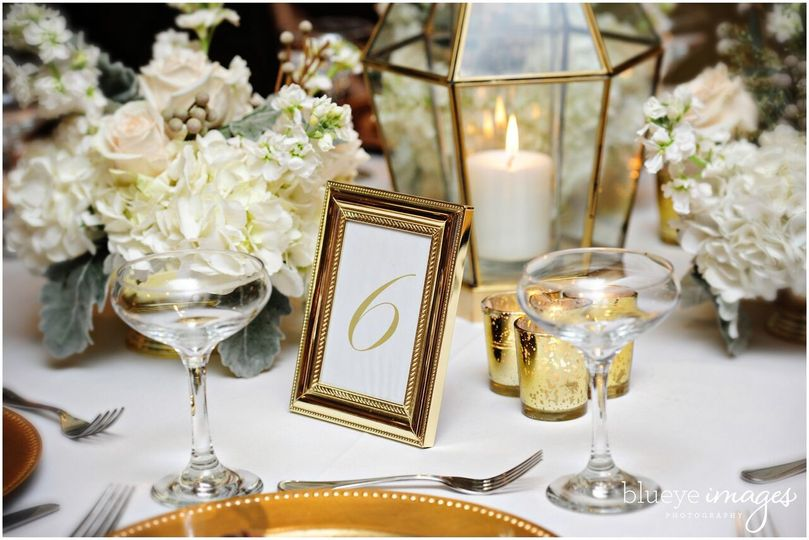 Table number and candle