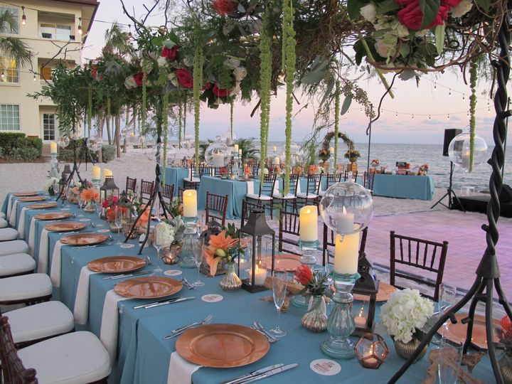 Gold plates and teal linens