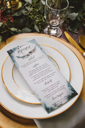 Gold Plate and Menu