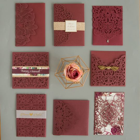 Burgundy laser cut invitations