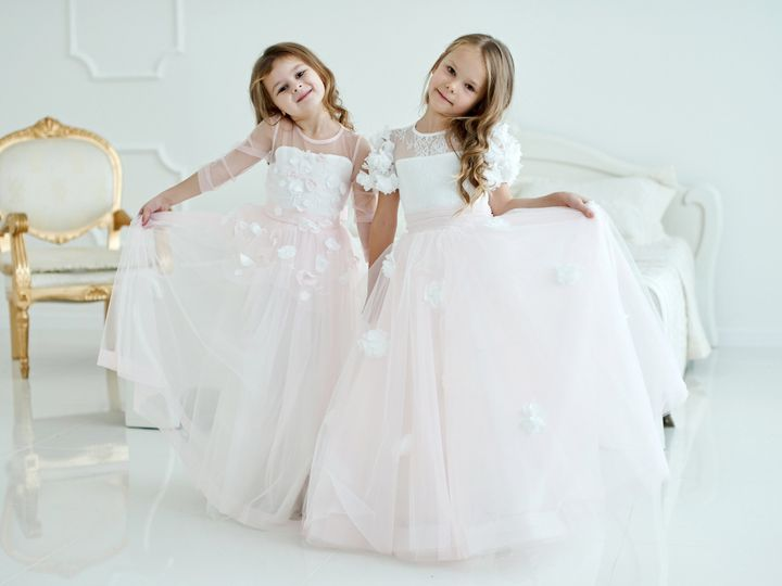 Tmx Two Little Girls In Wedding Dresses Standing In A Bright Studio Near The Chair 1 51 149525 Orlando, FL wedding beauty
