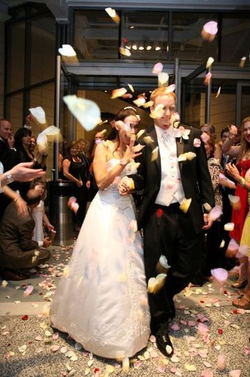 The Bride and Groom leave the Nasher Museum of Art in a flurry of rose petals.
