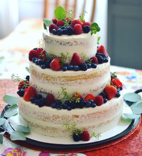 Lemon & berry three-tier cake