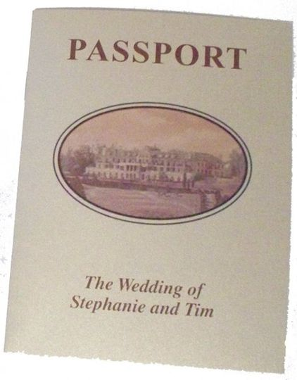 Save the date custom passport style with wedding details for guests.
