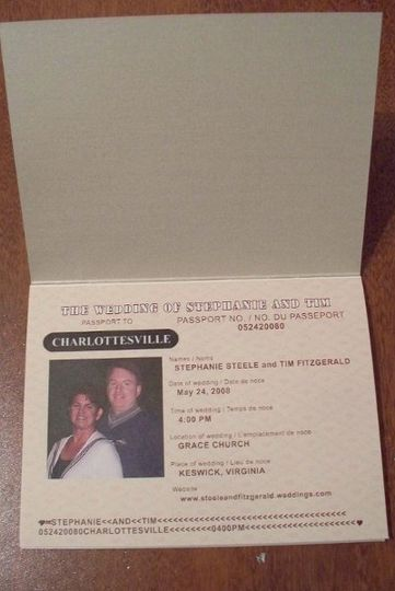 First page inside passport with pic of bride and groom and wedding date etc...