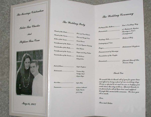 Picture of bride and groom and wedding ceremony agenda
