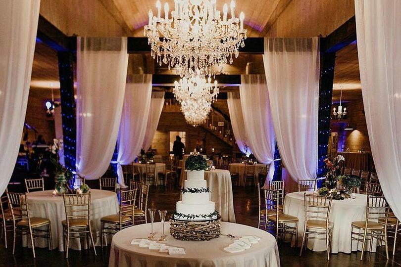 White wedding cake setup