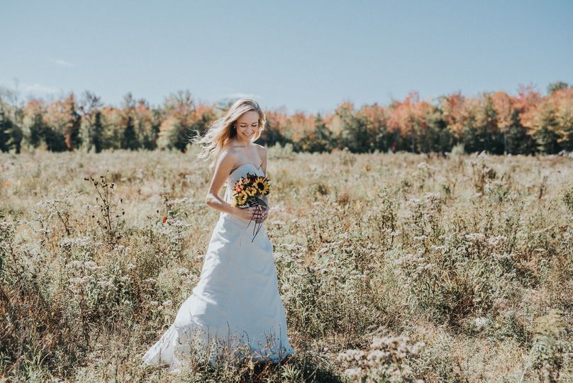 Bride by the field