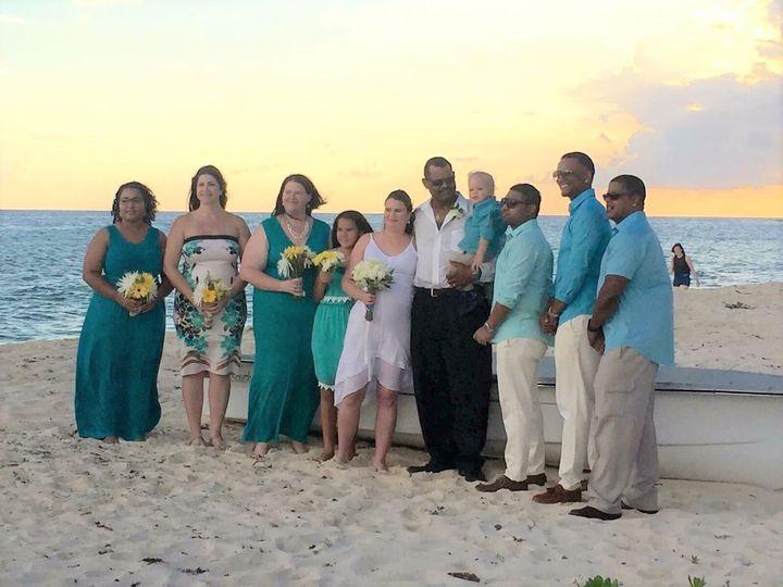 Island sunset wedding