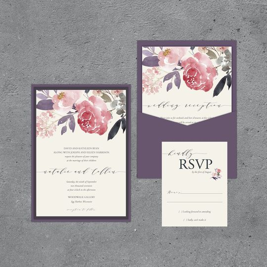 Floral Pocketcard Invitation Suite
