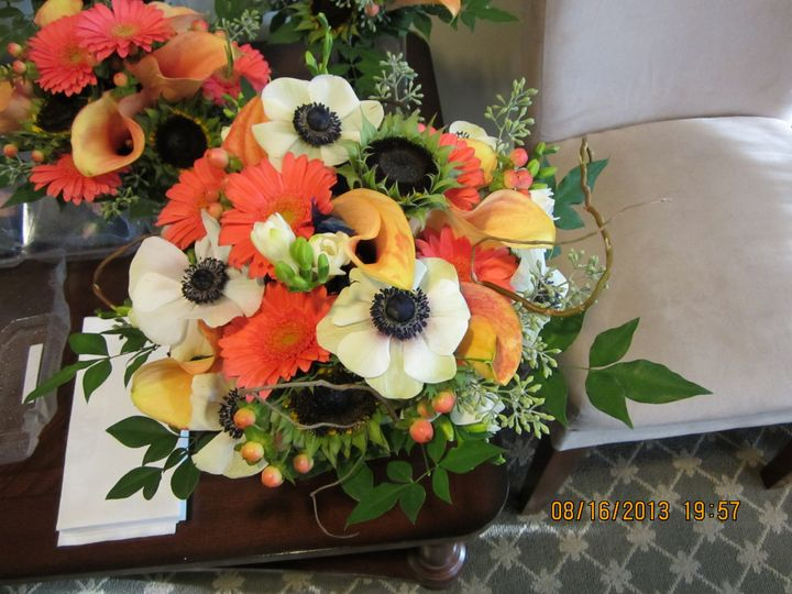 Orange and white arrangement