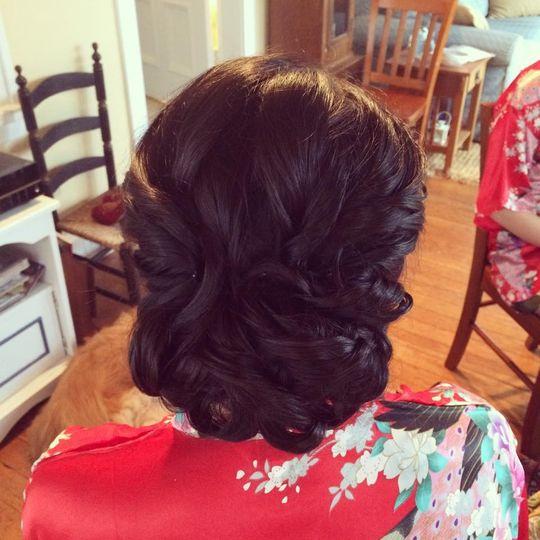 Brunette braided low bun