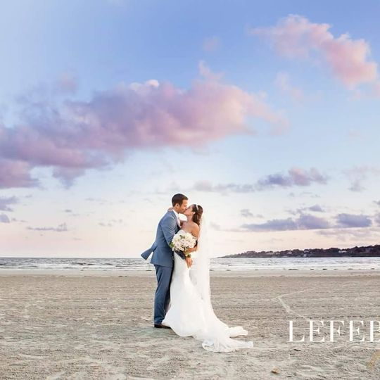 Newlyweds by the shore