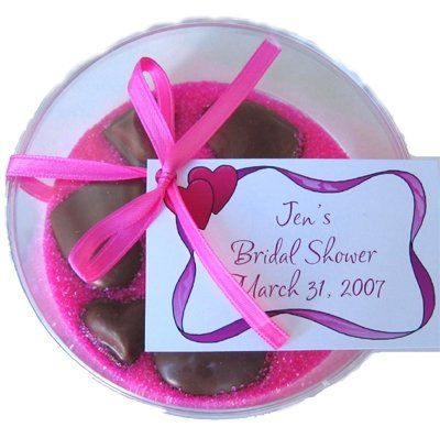 Chocolate hearts in Pink sand. Great for wedding showers, baby showers and more.