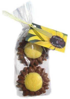 Chocolate Sunflower gift bags. Add a custom tag with your personal information.