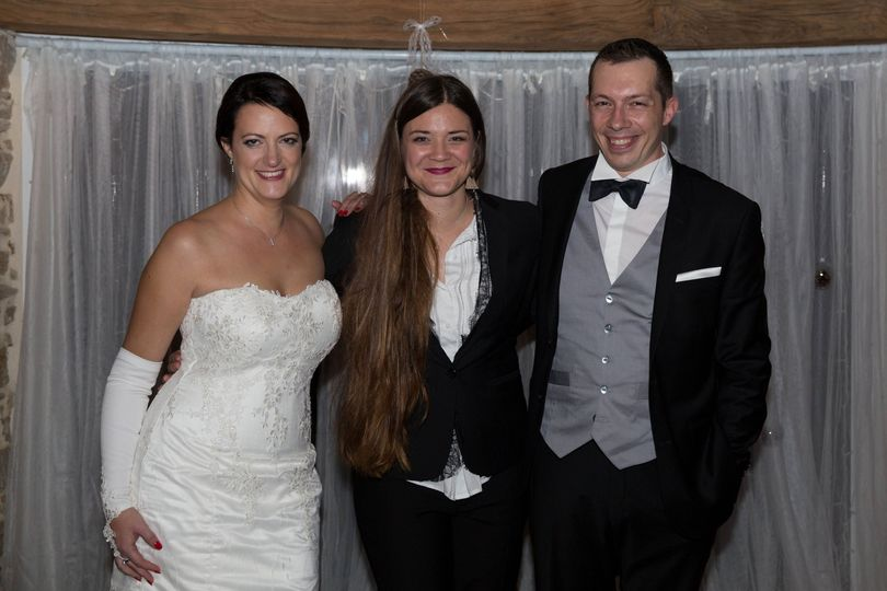 Diane with the bride and groom