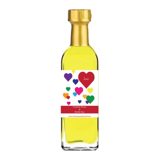 Colorful hearts wedding favor label