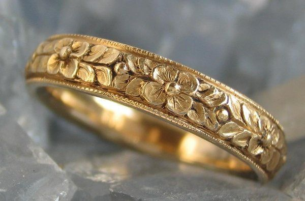 Hand carved flower ring in 14K Yellow Gold