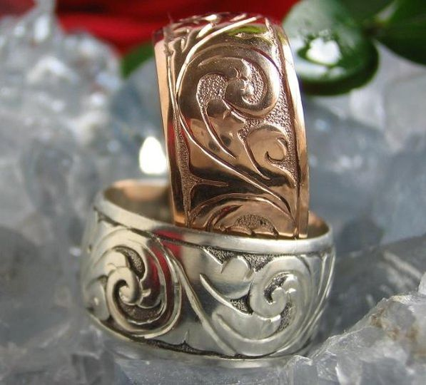 Hand Engraved Wedding Band pictures in 14K rose gold and sterling silver