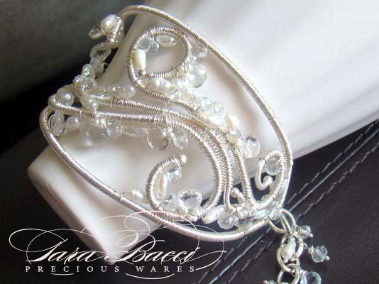 Fine silver bridal cuff with white topaz and freshwater pearls.