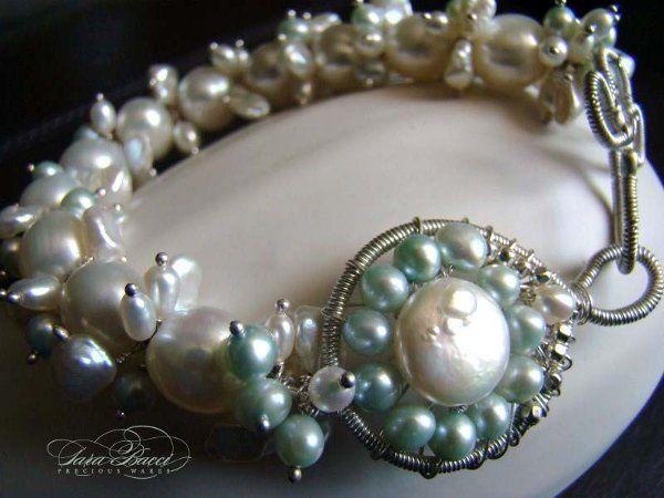 Freshwater pearl luxury bridal bracelet.