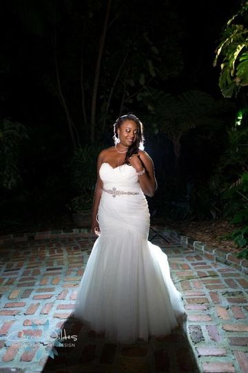 Bride bathed in dramatic lighting